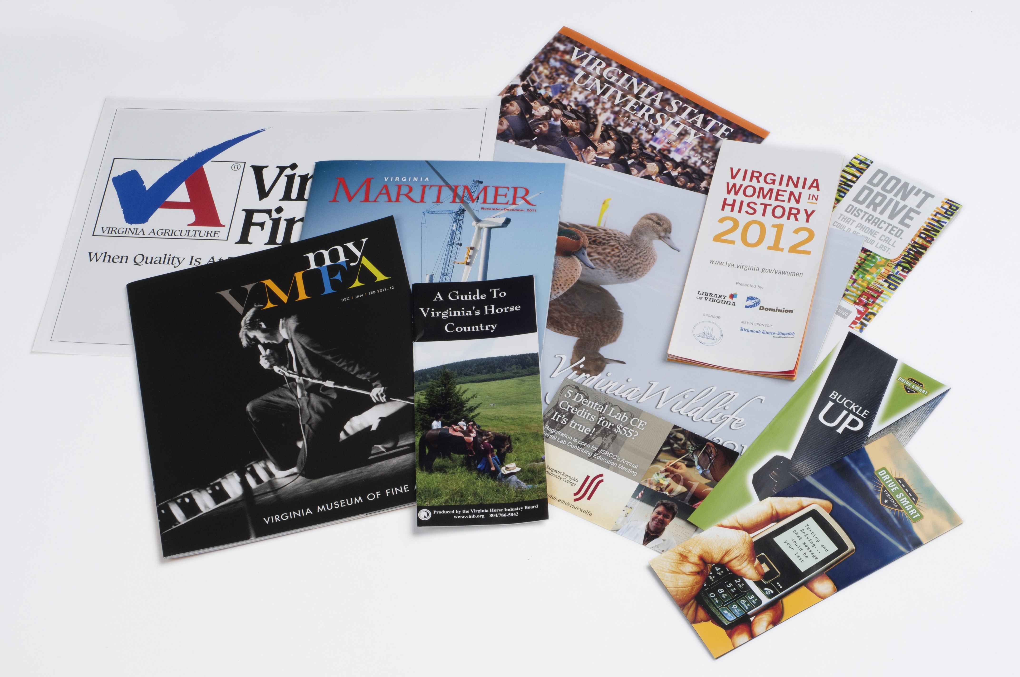 various brochure and pamphlet mailers